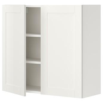 IKEA ENHET Szafka wisząca 2 półki/drzwiczki, biały/biały rama, 80x32x75 cm