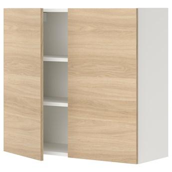 IKEA ENHET Szafka wisząca 2 półki/drzwiczki, biały/imit. dębu, 80x32x75 cm