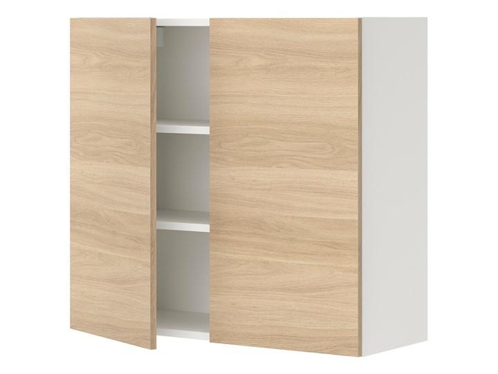 IKEA ENHET Szafka wisząca 2 półki/drzwiczki, biały/imit. dębu, 80x32x75 cm Płyta MDF Kategoria Szafki kuchenne Drewno Kolor Beżowy