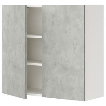 IKEA ENHET Szafka wisząca 2 półki/drzwiczki, biały/imitacja betonu, 80x32x75 cm