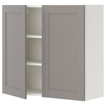 IKEA ENHET Szafka wisząca 2 półki/drzwiczki, biały/szary rama, 80x32x75 cm