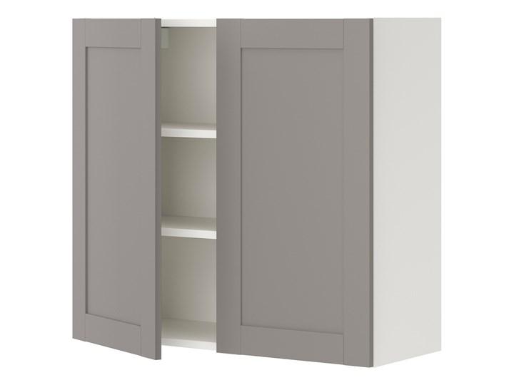 IKEA ENHET Szafka wisząca 2 półki/drzwiczki, biały/szary rama, 80x32x75 cm Płyta MDF Kategoria Szafki kuchenne