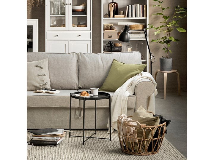 IKEA EVERTSBERG Sofa 2-osobowa rozkładana, z pojemnikiem beżowy, Wysokość łóżka: 29 cm Stała konstrukcja Wielkość Dwuosobowa Boki Z bokami