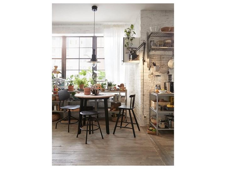IKEA GAMLARED Stół, bejca jasna patyna/bejcowane na czarno, 85 cm Kolor Czarny Drewno Sosna Kształt blatu Okrągły