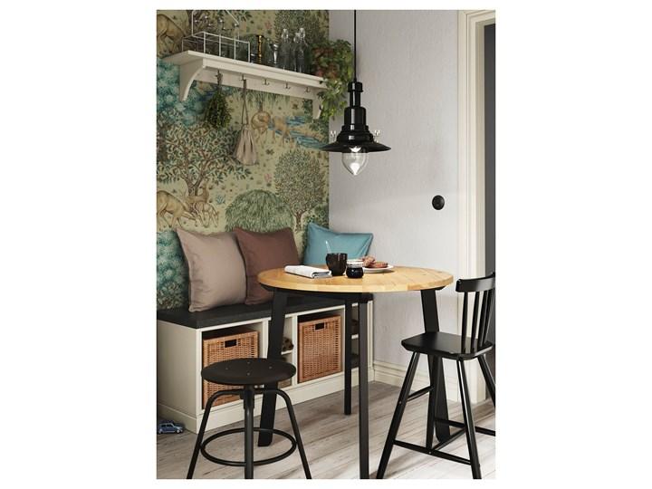 IKEA GAMLARED Stół, bejca jasna patyna/bejcowane na czarno, 85 cm Drewno Sosna Kolor Czarny Kształt blatu Okrągły