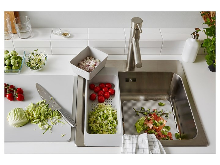 IKEA GRUNDVATTNET Durszlak, szary, Długość: 46 cm Kategoria Durszlaki i sita