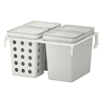 IKEA HÅLLBAR Rozwiązanie sortowania śmieci, Do szuflad kuchennych METOD wentylowane/jasnoszary, 42 l