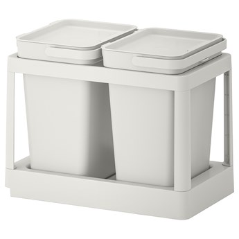 IKEA HÅLLBAR Rozwiązanie sortowania śmieci, Z wysuwaniem/jasnoszary, 20 l