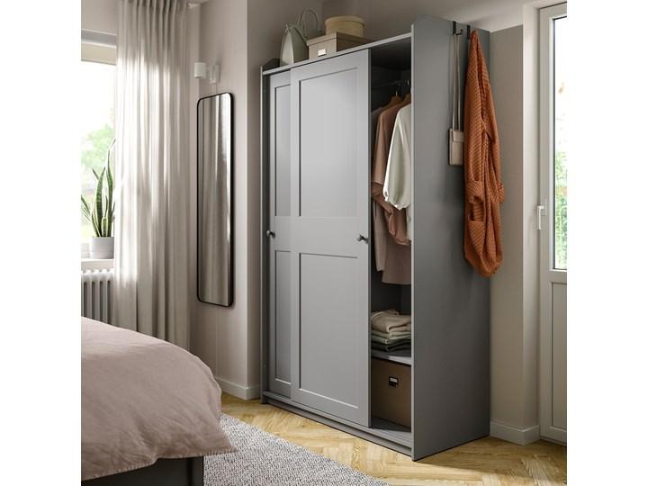 IKEA HAUGA Szafa z drzwiami przesuwanymi, Szary, 118x55x199 cm Typ Gotowa Płyta MDF Pomieszczenie Przedpokój