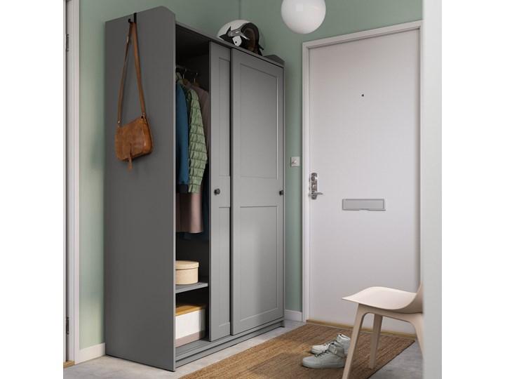 IKEA HAUGA Szafa z drzwiami przesuwanymi, Szary, 118x55x199 cm Płyta MDF Rodzaj drzwi Przesuwne