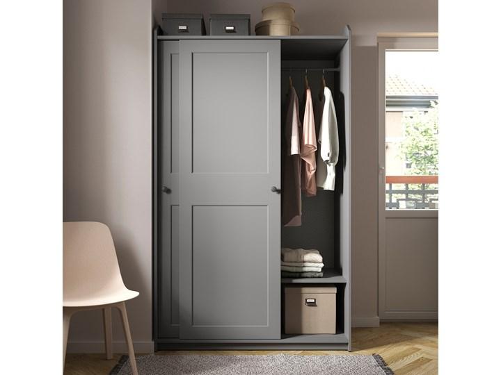 IKEA HAUGA Szafa z drzwiami przesuwanymi, Szary, 118x55x199 cm Płyta MDF Pomieszczenie Garderoba Styl Skandynawski