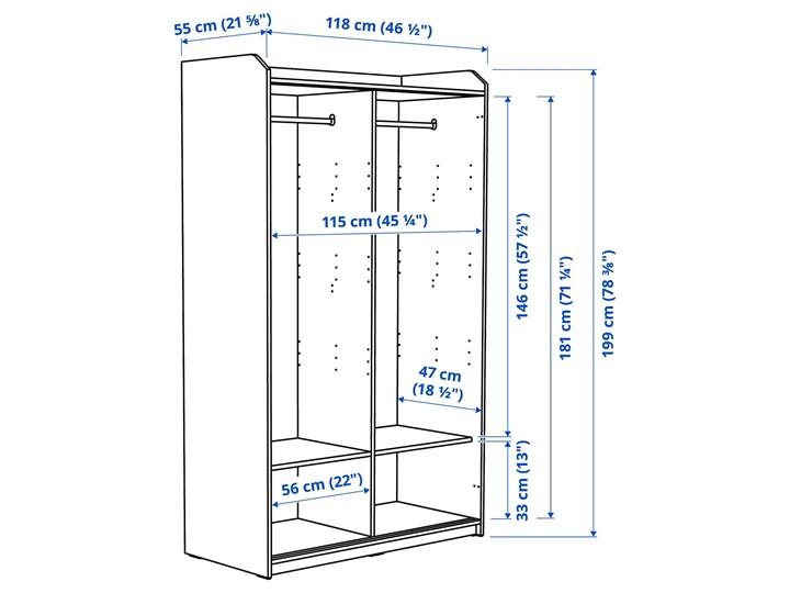 IKEA HAUGA Szafa z drzwiami przesuwanymi, Szary, 118x55x199 cm Płyta MDF Lustro