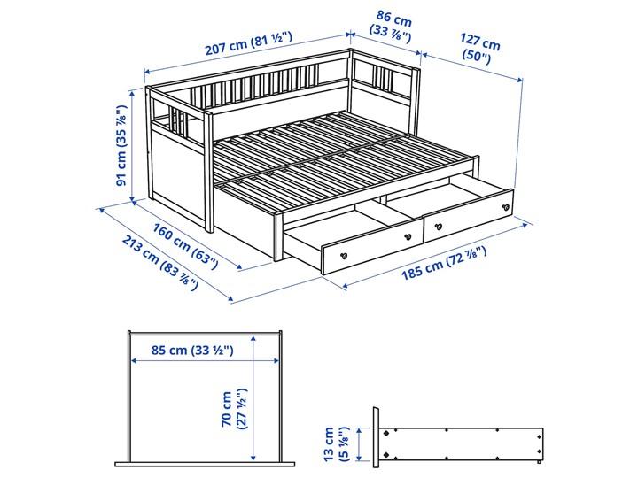 IKEA HEMNES Leżanka z 2 szufladami, 2 materace, jasnobrązowy/Malfors średnio twardy, 80x200 cm Drewno Podwójne Kategoria Łóżka dla dzieci Kolor Beżowy