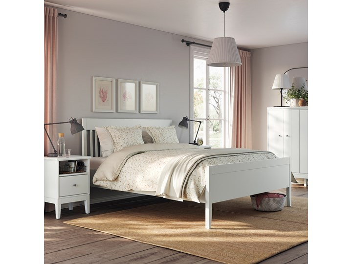 IKEA IDANÄS Rama łóżka, Biały, 140x200 cm Łóżko drewniane Kategoria Łóżka do sypialni