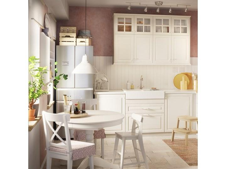 IKEA INGATORP Stół rozkładany, biały, 90/125 cm Stal Wysokość 74 cm Długość 90 cm  Szerokość 90 cm Płyta MDF Drewno Tworzywo sztuczne Kształt blatu Okrągły