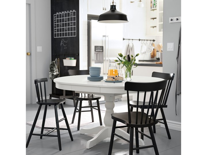 IKEA INGATORP Stół rozkładany, biały, 90/125 cm Wysokość 74 cm Szerokość 90 cm Pomieszczenie Stoły do jadalni Stal Płyta MDF Drewno Długość 90 cm  Tworzywo sztuczne Rozkładanie Rozkładane