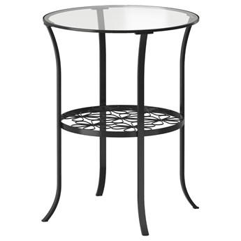 IKEA KLINGSBO Stolik, czarny/szkło bezbarwne, 49x62 cm
