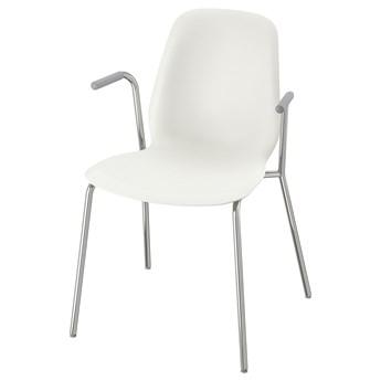 IKEA LEIFARNE Krzesło z podłokietnikami, biały/Dietmar chrom, Przetestowano dla: 110 kg