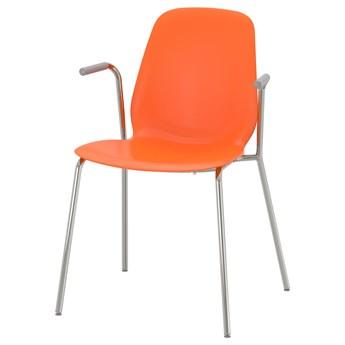IKEA LEIFARNE Krzesło z podłokietnikami, pomarańczowy/Dietmar chrom, Przetestowano dla: 110 kg