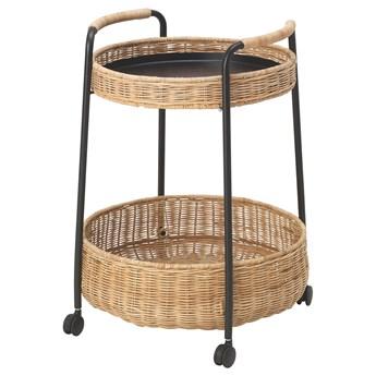 IKEA LUBBAN Stolik na kółkach/schowek, rattan/antracyt, Maks. obciążenie koszyk dolny: 10 kg