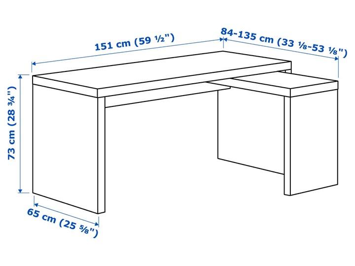 IKEA MALM Biurko z wysuwanym panelem, Biały, 151x65 cm Biurko narożne Kategoria Biurka Szerokość 151 cm Płyta MDF Styl Nowoczesny