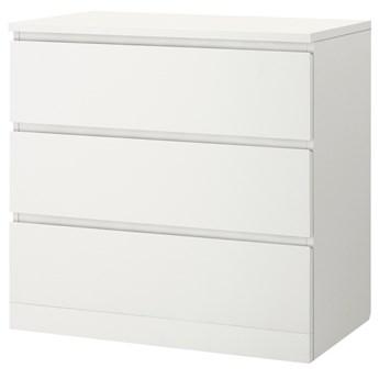 IKEA MALM Komoda, 3 szuflady, Biały, 80x78 cm