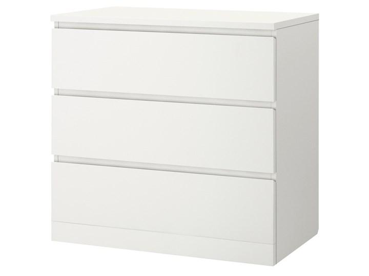 IKEA MALM Komoda, 3 szuflady, Biały, 80x78 cm Szerokość 80 cm Płyta MDF Pomieszczenie Sypialnia
