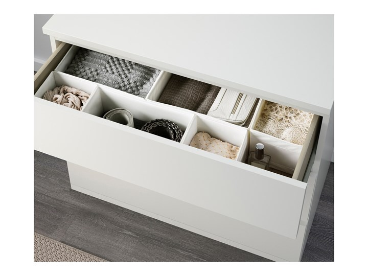 IKEA MALM Komoda, 3 szuflady, Biały, 80x78 cm Płyta MDF Szerokość 80 cm Pomieszczenie Sypialnia Kategoria Komody