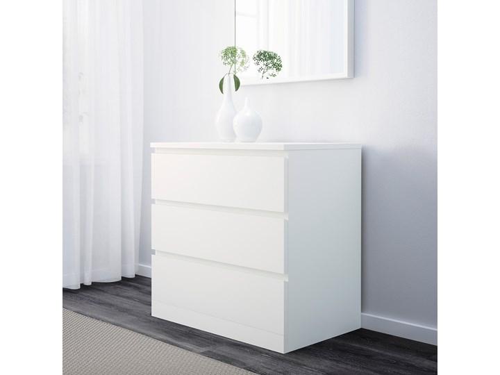 IKEA MALM Komoda, 3 szuflady, Biały, 80x78 cm Płyta MDF Szerokość 80 cm Pomieszczenie Sypialnia