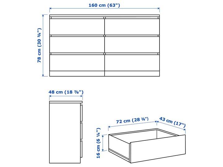 IKEA MALM Komoda, 6 szuflad, Czarnobrąz, 160x78 cm Szerokość 160 cm Płyta MDF Z szufladami Styl Nowoczesny
