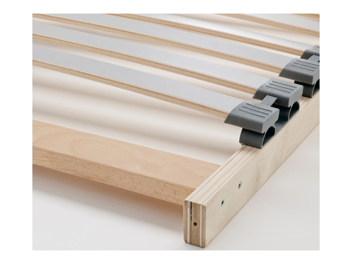 IKEA MALM Rama łóżka, wysoka, Brązowa bejca okleina jesionowa, 160x200 cm Drewno Łóżko drewniane Kolor Brązowy Kolor Szary
