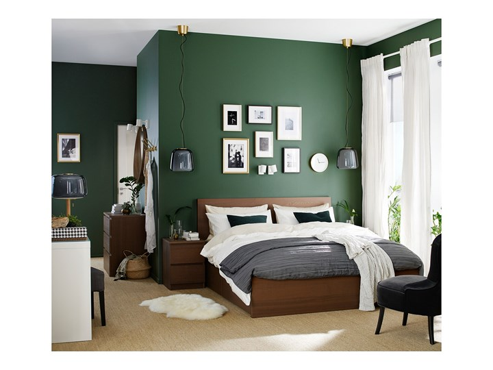 IKEA MALM Rama łóżka z 2 pojemnikami, Brązowa bejca okleina jesionowa, 140x200 cm Drewno Kolor Brązowy Łóżko drewniane Kategoria Łóżka do sypialni
