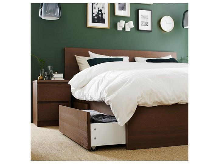 IKEA MALM Rama łóżka z 4 pojemnikami, Brązowa bejca okleina jesionowa, 160x200 cm Drewno Kategoria Łóżka do sypialni Łóżko drewniane Kolor Szary