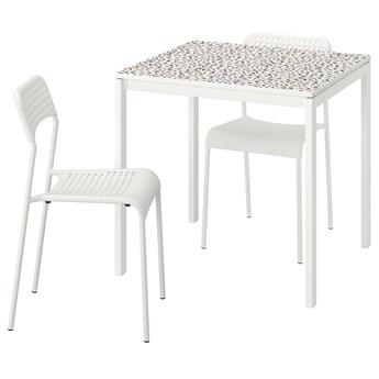 IKEA MELLTORP / ADDE Stół i 2 krzesła, wzór mozaika biały/biały, 75x75 cm