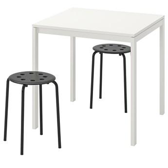 IKEA MELLTORP / MARIUS Stół i 2 stołki, biały/czarny, 75 cm
