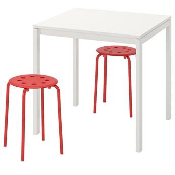 IKEA MELLTORP / MARIUS Stół i 2 stołki, biały/czerwony, 75 cm