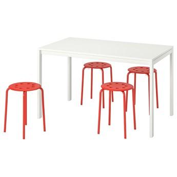 IKEA MELLTORP / MARIUS Stół i 4 stołki, biały/czerwony, 125 cm