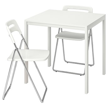 IKEA MELLTORP / NISSE Stół i 2 składane krzesła, biały/biały, 75 cm