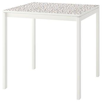 IKEA MELLTORP Stół, Wzór mozaika/biały, 75x75 cm