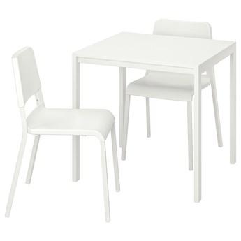 IKEA MELLTORP / TEODORES Stół i 2 krzesła, biały/biały, 75x75 cm