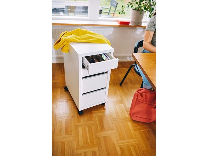 IKEA MICKE Komoda na kółkach, Biały, 35x75 cm Płyta laminowana Płyta meblowa Płyta MDF Pomieszczenie Biuro i pracownia
