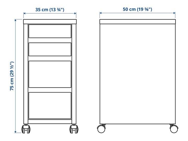 IKEA MICKE Komoda na kółkach, Biały, 35x75 cm Pomieszczenie Biuro i pracownia Płyta laminowana Płyta meblowa Płyta MDF Kategoria Szafki i regały