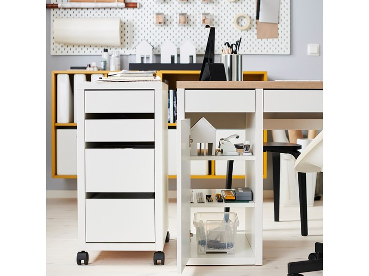 IKEA MICKE Komoda na kółkach, Biały, 35x75 cm Płyta meblowa Płyta MDF Płyta laminowana Pomieszczenie Biuro i pracownia Kategoria Szafki i regały