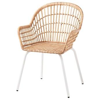 IKEA NILSOVE Krzesło z podłokietnikami, rattan/biały, Przetestowano dla: 110 kg
