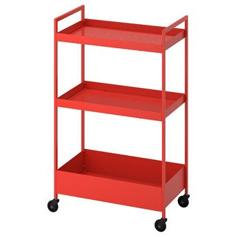 IKEA NISSAFORS Wózek, Czerwono-pomarańczowy, 50.5x30x83 cm