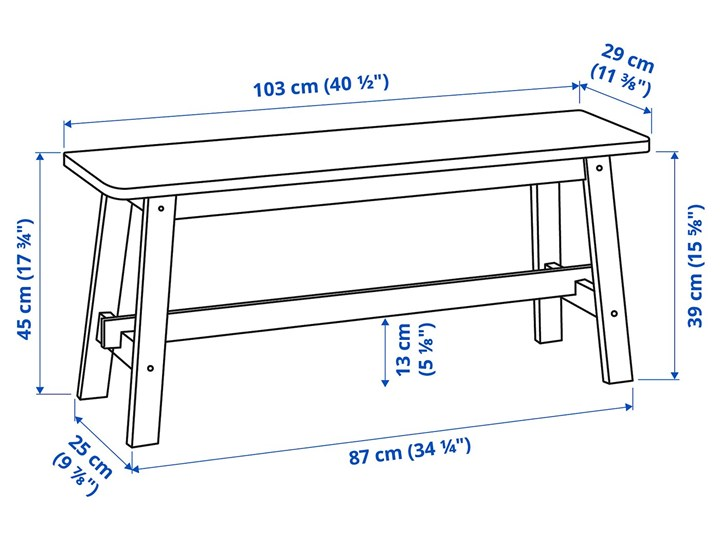 IKEA NORRÅKER Ławka, brzoza, 103 cm Kategoria Ławki do salonu Styl Minimalistyczny