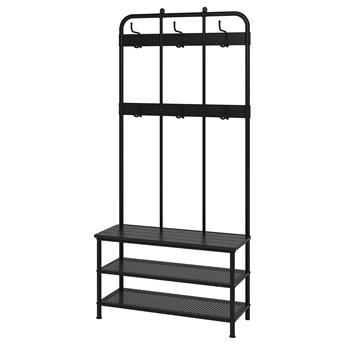IKEA PINNIG Wieszak na ubrania z ławą, czarny, 193x37x90 cm
