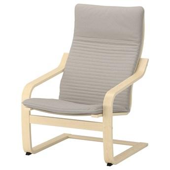 IKEA POÄNG Fotel, okl brzoz/Knisa jasnobeżowy, Szerokość: 68 cm