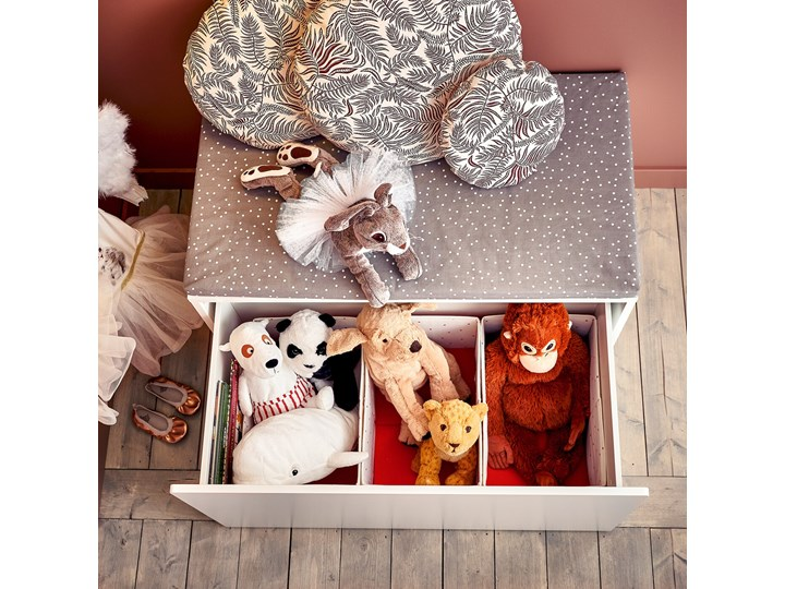 IKEA SMÅSTAD Ławka z pojemnikiem na zabawki, Biały/biały, 90x52x48 cm Kategoria Ławki do salonu