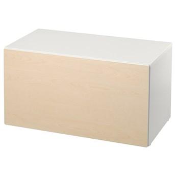 IKEA SMÅSTAD Ławka z pojemnikiem na zabawki, Biały/brzoza, 90x52x48 cm